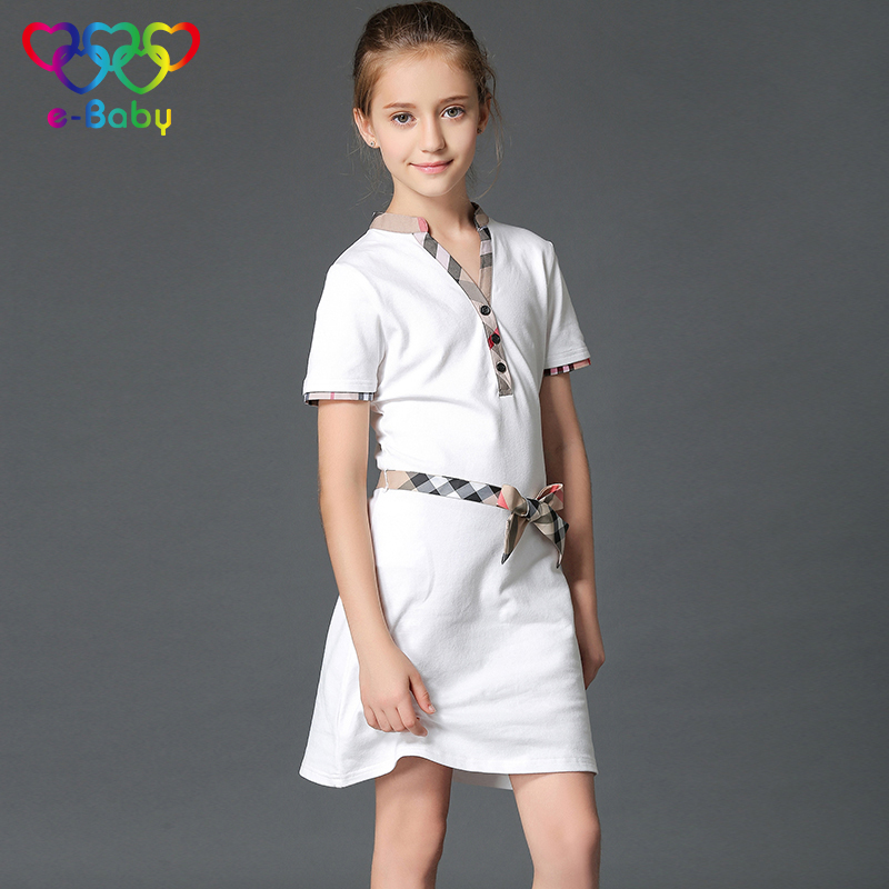 2017 girl dresses 100% cotton t-shirt summer dress V-Neck short plaid children girls dresses bow knee-length girls clothes EB606<br>