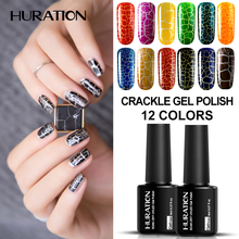 Huration 12 Colorful Crack UV Nail Lacquer Crackle Shatter Gel Nails Polish Professional Cracking Nail Varnish Cheap Gel