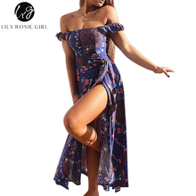 Buy Lily Rosie Girl Shoulder Purple Boho Floral Print Split Dress Summer Beach Sexy Bow Backless Maxi Long Dresses Vestidos for $14.99 in AliExpress store