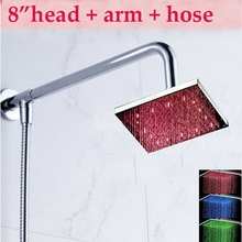 "US Free Shipping Wall Mounted 8"" LED Rain Shower Head Shower Arm Shower Hose Top Over-head Sprayer Chrome Finish"