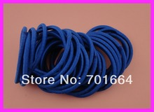50PCS  4mm sapphire elastic ponytail holders hair bands with gluing connection,blue elastic hair ties