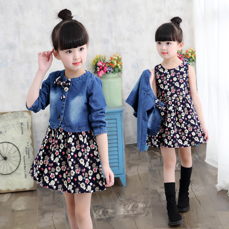 New arrival Children fashion set  2017 girls two-piece Jeans Coat +Floral casual dress clothes set<br>