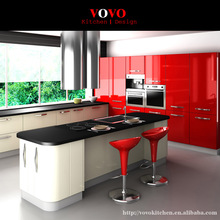 High glossy red and white lacquer kitchen cabinets manufacturer