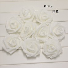 Get Married Wedding Party Handmade White Rose Flower Bride Groom Favors Foam Decoration Church Artificial Gifts Supplies 100pc(China)
