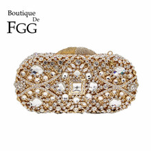 Diamond Rhinestones Women Gold Evening Bag Metal Hardcase Crystal Clutch Purse Bridal Handbag Wedding Clutches Bolso De Boda