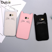 Dulcii Phone Case for Samsung Galaxy A5 A3 2017 Cute 3D Mustache Cat Silicone Coque Cover for Galaxy A5 A3 2016 Pink White Black(China)