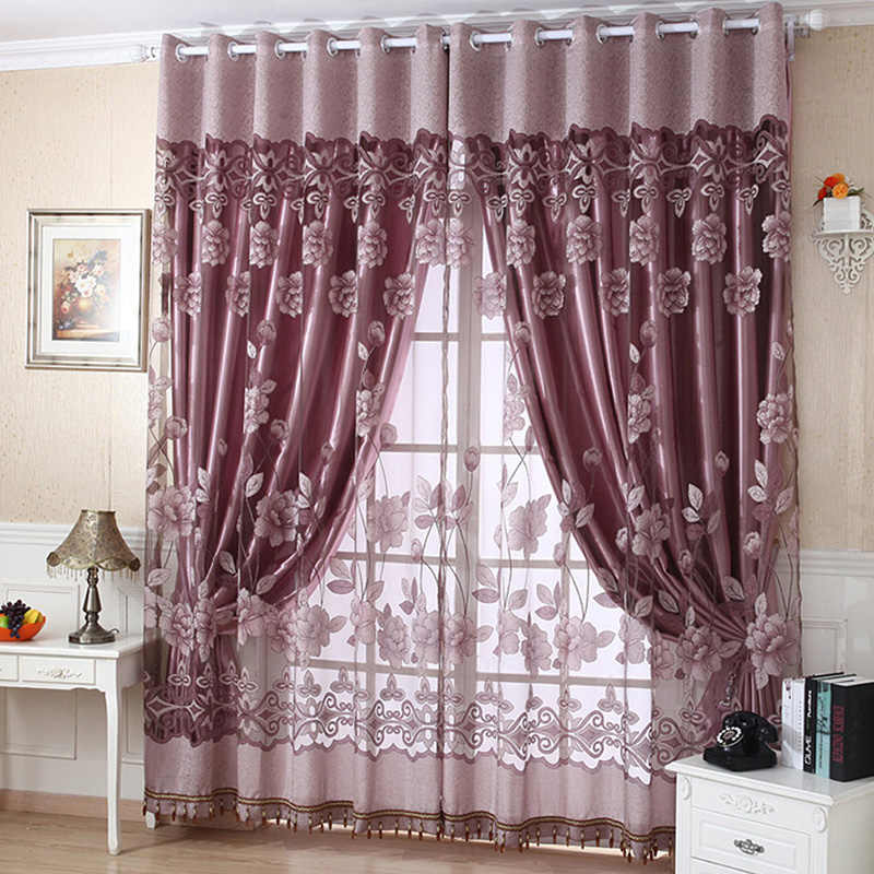 Luxury Burnout Flower Tulle Curtain Window Blinds Screens Drape Panel Sheer Scarf Valances Curtains Scarf for Living Room