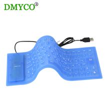 DMYCO 2pc Black/blue New English/Russian folding Portable Flexible Rubber Keyboard gaming keyboard for PC Laptop Computer tablet