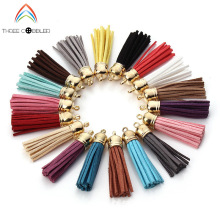 55MM 20pcs Suede Tassel For Keychain Cell Phone Straps Jewelry Charms, Leather Tassels With silver/gold/antique bronze CapsJ1489(China)