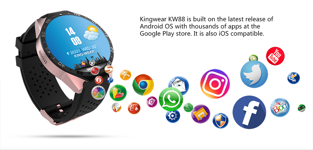 image for KW88 Smart Watch Android 5.1 OS MTK6580 CPU 1.39 Inch Screen 2.0MP Cam