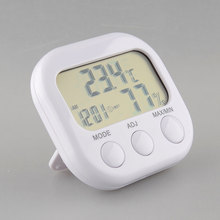 New Digital Thermometer Humidity HYGRO Hygrometer Air Moisture Clock TA638 White Free shippingFree Shipping