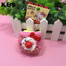4Color 5cm original package rare hello kitty sweet cake squishy phone charm pink cell phohe Strap wholesales Squishies 12pcs/lot(China)