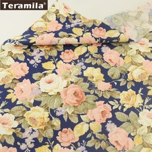 Teramila Fabric 100% Cotton Blue Twill Material Bed Sheet Printed Blooming Flower Design Sewing Textile Scrapbooking Crafts CM(China)