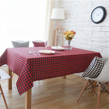 Home Tablecloth Red Lattice Pattern Classic Decorative Tablecloth For Wedding Signature Cotton Nappe Round Table Cloth