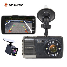 "TOPSOURCE 4"" Mini Car DVR Full 1080P Dual Lens 8 LED Rear view Camera support Front car distance warning dash camera AIT8328P(China)"