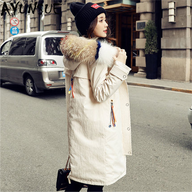 AYUNSUE Hot Sale Winter Women Coats and Jackets Duck Down Jacket Female Real Raccoon Fur Long Hooded Coat Abrigos Mujer LX2308
