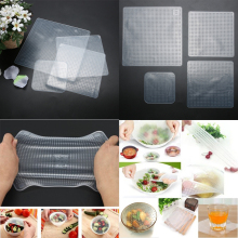 New 4pcs Multifunctional Food Grade Plastic Wrap Reusable Fresh Keeping Saran Wrap Kitchen Tools Silicone Food Wraps Seal Cover