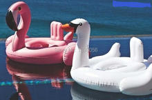 2 Size White Swan Swimming Baby Seat Ring Pool Float Water Fun Toys Inflatable Flamingo Life Raft Seat Boat 2-8 Ages Children(China)