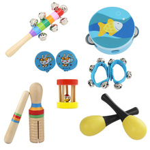 New 10pcs/set Musical Toys Orff Instruments Sets Band Rhythm Kit Including Tambourine Maracas Castanets Handbells for Kids(China)