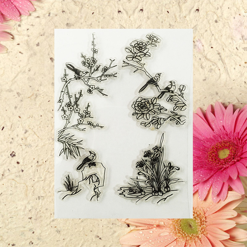 2016 New Scrapbook DIY Photo Album Cards Transparent Acrylic Silicone Rubber Clear Stamps Sheet bird(China (Mainland))