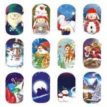 WUF 1 Sheet Nail Art Water Tattoo Snowman Theme Design Nails Christmas Design Water Transfer Decals