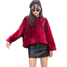 Thick hip hop hoodie women 2017 winter autumn long sleeve oversize short sweatshirt female tops hooded red black kpop plus size
