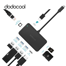 dodocool 8-in-1 USB HUB Multifunction Type C USB-C Hub with Type-C PD 4K Video HDMI Gigabit Ethernet Adapter SD/TF Card Reader(China)