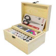 Solid Wood Needle Box Set Storage Box, Sewing Kit Needle Tape Scissor Multifunction Threads Sewing Tools Creative Gift Box Gift(China)