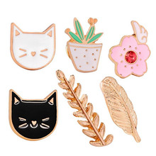 2017 Enamel Potted Cactus Plants Pink Flower Gold Wheat Leaves and  Animal Black White Pet Cat Brooch Pins Alloy Jewelry