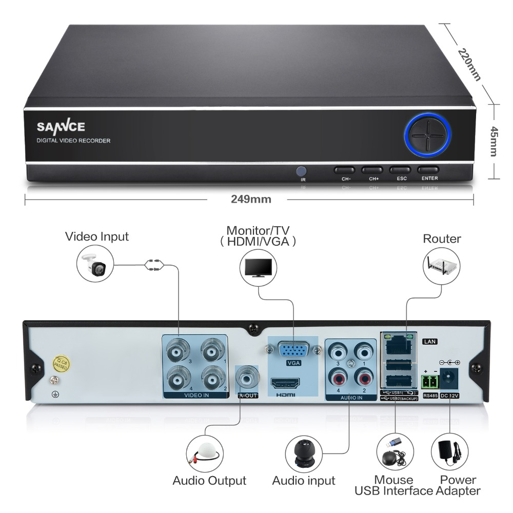 SANNCE 4CH 4IN1 1080N CCTV DVR Security System Full D1 H.264 HDMI P2P cloud Motion detecting remote phone Monitoring host<br>