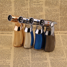 4 Jet Turbo Torch Full Metal Butane Gas Lighters,Cigar Cigarette Lighter,can Cigarette Box(China)