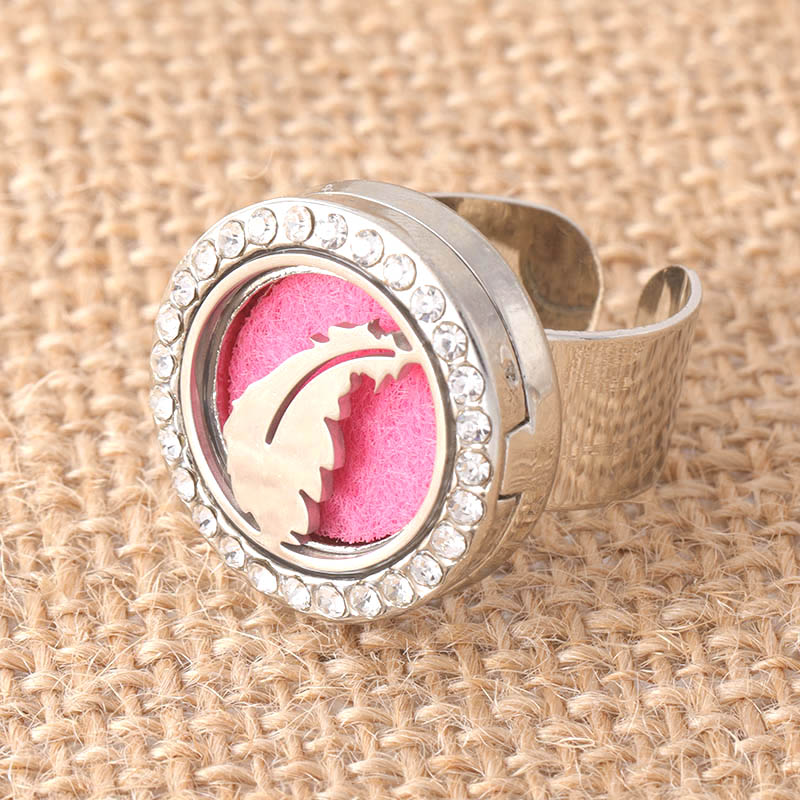 New crystal stainless steel flower pattern adjustable aromatherapy box ring men and women fashion jewelry+ 1 felt mat SCH712