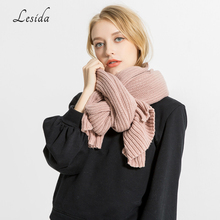 LESIDA Winter Women Scarf Knit Woolen Solid Color Shawl Thick Warm Couple Scarves Female Wraps Large Cachecol 200*35CM 3434(China)