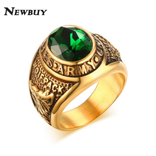 NEWBUY Large Green Rhinestone  Deluxe Army Military Ring Gold-color United States Army Rings For Men Jewelry