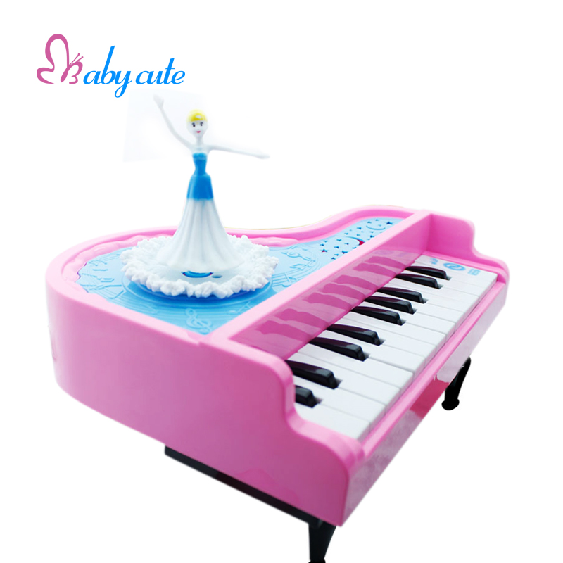 Kids Musical Toys Mini Electronic Piano Lovely Princess Dancing Music Light Sound Early Learning Intelligence Development Toys(China)