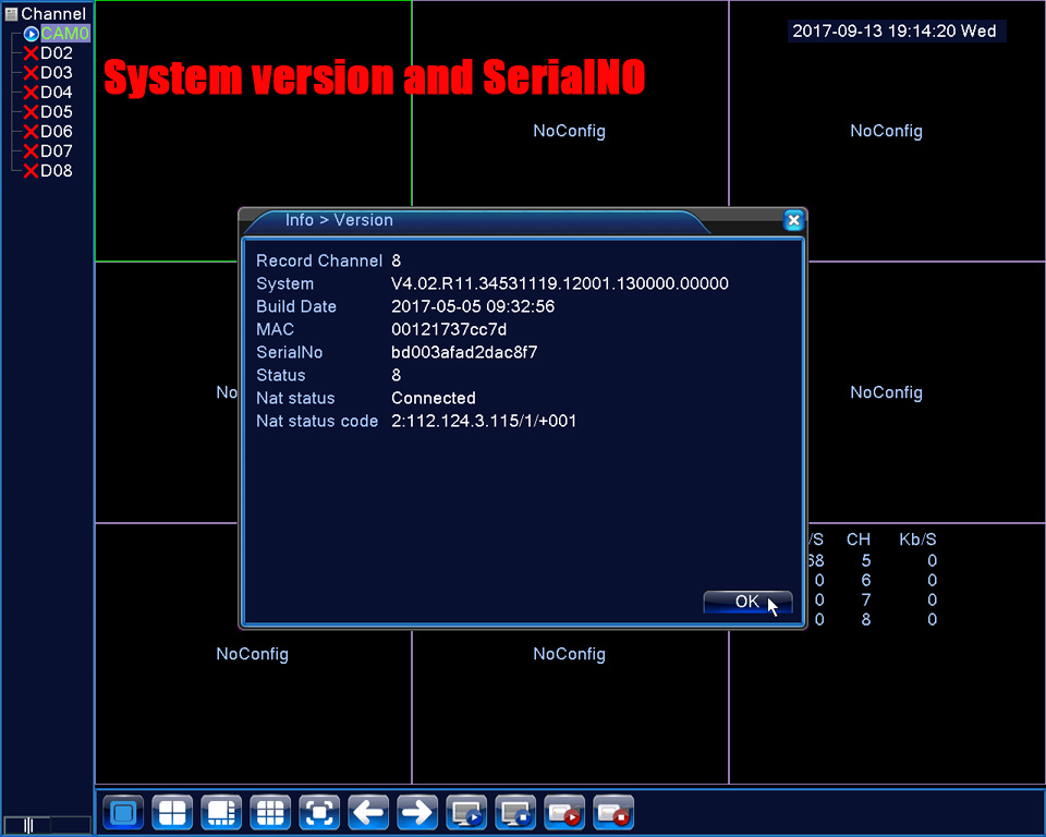 7.system version and serial No