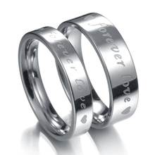 MMS 4mm+6mm Romantic Forever Love Crystal Black Silver Carved Stainless Steel Rings Sweet Charm Couple Ring Elegant Jewelry