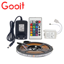 LED Strip Light 3528 RGB 5M 300 LED Flexible Strip Light Set + 24Keys Remote Controller + 12V 3A Power Adapter Optional Set
