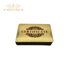 Wishonor 50pcs/lot Certificates of Authenticity 99.9% Pure 24 Carat Gold Certification For Beautiful Gifts(China)