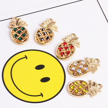Newest Trendy Alloy Fruit Charms 50Pcs Enamel Metal Rhinestone Crystal Paved Pineapple Fashion Ornament Pendants