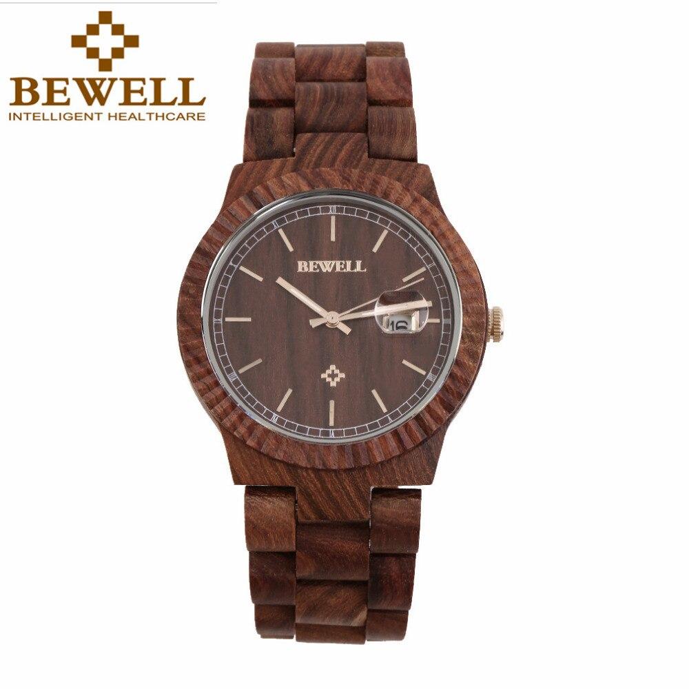 JYL Casual Bewell W112A Women Full Natural Wood Round Wristwatch Quartz Analog Wooden Watch Gift Hot!<br>