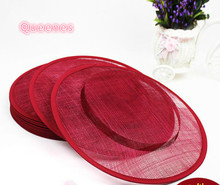 Flat 31Cm BIG Round Sinamay Material DIY Evening Party Dinner Horse Race Women Headwear SInamay Hat Base Wine Red Beige Navy