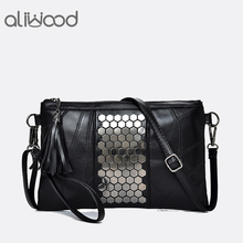 Buy Aliwood Women's Genuine Leather Messenger Bags Rivet Clutch Ladies' Shoulder Bag Designer Handbags Tassel Crossbody Bag Girl for $10.88 in AliExpress store