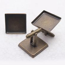 20pcs free shipping 16mm 20mm square antique bronze cufflinks blank, cufflink base, metal cufflinks, fashion jewelry cufflinks(China)