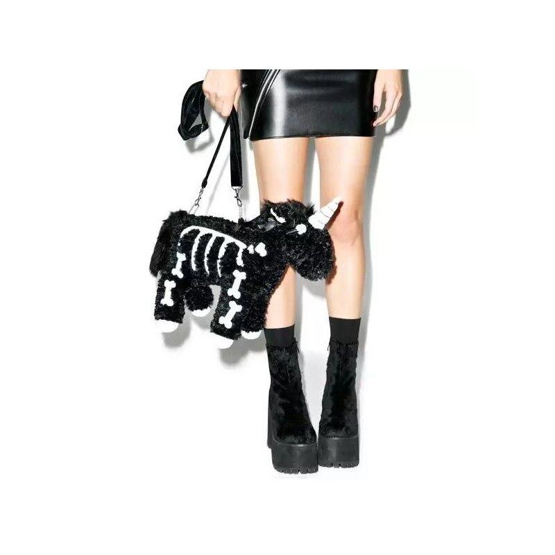 Unicorn Women Fashion Handbags Girls Cute Small Animal Bags 2018 Ladies Bag Black Punk Bag Party Dress Totes Bag<br>