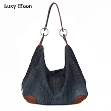 Luxy Denim Handbags Large Women Bag Big Hobo Purses Ladies Hand bags Jean Shopper Tote Luxury Designer Crossbody Messenger Bag(China)