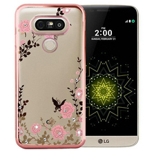for LG G4 Case Luxury Flower Plating Transparent Soft Secret Garden Silicone Coque with Rhinestone for LG G3 G5 Cover Fundas