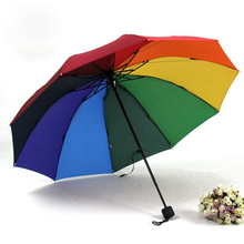 Fashion Rainbow men women Fold Umbrella Rain Sun Umbrella Extreme Rainy Sunny Three Folding Adults Children Colorful Umbrellas