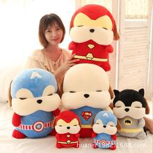 33cm Cute The Avengers Captain America iron man Superman Batman, rascal dog toy plush toy Christmas gift(China)