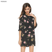2017 Above Knee Mini Summer Dress Half Sleeve Chiffon O-neck Black Print Women Dress Puff Sleeve Natural Waistline Dress(China)